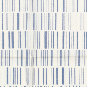 Printed sample with rows of short vertical lines in varied widths, in blue on white lawn batiste.