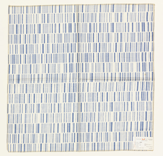 Rows of narrow and wider lines printed in medium blue on white. Serged on all 4 sides