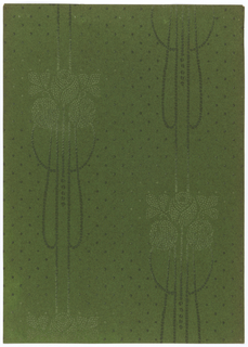 Roses with leaves having look of embroidery. Long loops and lines, rope-like, are attached to the roses and connect the motifs vertically. Polk dots fill the background. Printed in shades of green.