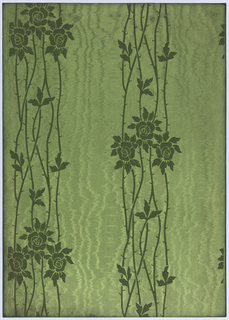 Three roses with foliage on winding, thorny stems that form a vertical loose stripe. The shiny background has a moire texture. Printed in shades of green.