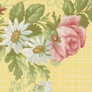 A floral arch of roses and daisies intertwined with foliage and grape vine. A background of crisscross fine lines. Printed in shades of red, green, beige, brown, white and yellow.