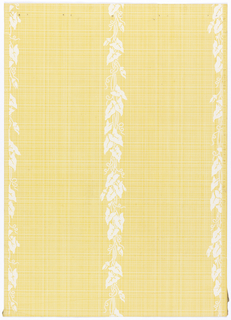 Fancy vertical stripes, repeating every seven inches. The stripes of leaves and vines, 1 1/2 inches wide, run unbroken through the design. Crisscross fine lines cover the background. Printed in white and yellow.