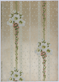 Bouquet of three wild roses and buds on top of long stems with small rose buds leading to next bouquet. Vertical stripes of lace are running through the design. Fine rose buds fill the background, geometrically placed. Printed in blue, white, yellow and pink on a beige background.