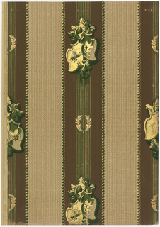 Five inch stripe, vertical, with lines in its center and heraldic-type motifs . Two laurel branches are placed between the motifs. A weave-like texture fills the background. Printed in brown, green, terra cotta, beige and gold.