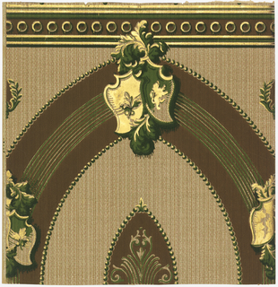 Crown frieze with an oval band, five inches wide, with a heraldic motif and acanthus leaves at its bottom. Similar motifs are placed at each side of oval band. At bottom runs a three inch stripe, vertically, with rings and shadow running through its center. Textural background. Printed in shades of green, brown, gold mica and terra cotta.