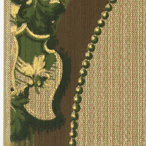 An oval band, five inches wide, with a heraldic motif and acanthus leaves at its bottom. Similar motifs are placed at each side of oval band. At bottom runs a three inch stripe, vertically, with rings and shadow running through its center. Textural background. Printed in shades of green, brown, gold mica and terra cotta.