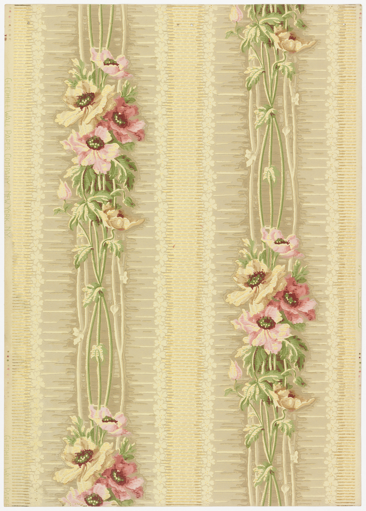 Bouquet of poppies, multicolored, longstemmed and forming vertical stripes. A three inch fancy stripe with small flowers on each side runs between the floral stripes. Printed in shades of red, beige, yellow, green and taupe.