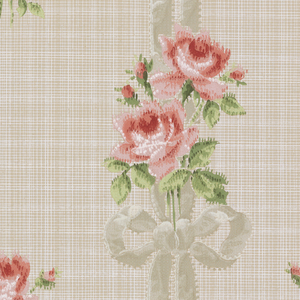Two roses with buds and leaaves tied with large bow and two long ribbons, connecting to the next roses. This forms a vertical stripe formation. Single roses in geometric placement are set into background. Fine lines crossing in the background. Printed in shades of red, green, white gray and light taupe.