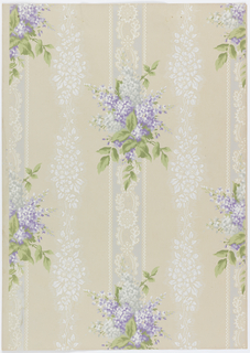 Vertical stripes three inches wide, 6 3/4 inches apart with bouquets of lilacs and fancy designs connecting the motifs. Between the stripes moves fancy arrangement of cinquefoil and horizontal fine lines. Printed in purple, green, gray and white on light beige background.