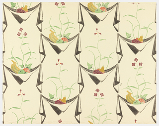 Suspended napkins, each containing fruit and flower. Grapes, pear and strawberries alternate with banana, something red and something green. Printed in black, red, green and tan on cream ground.