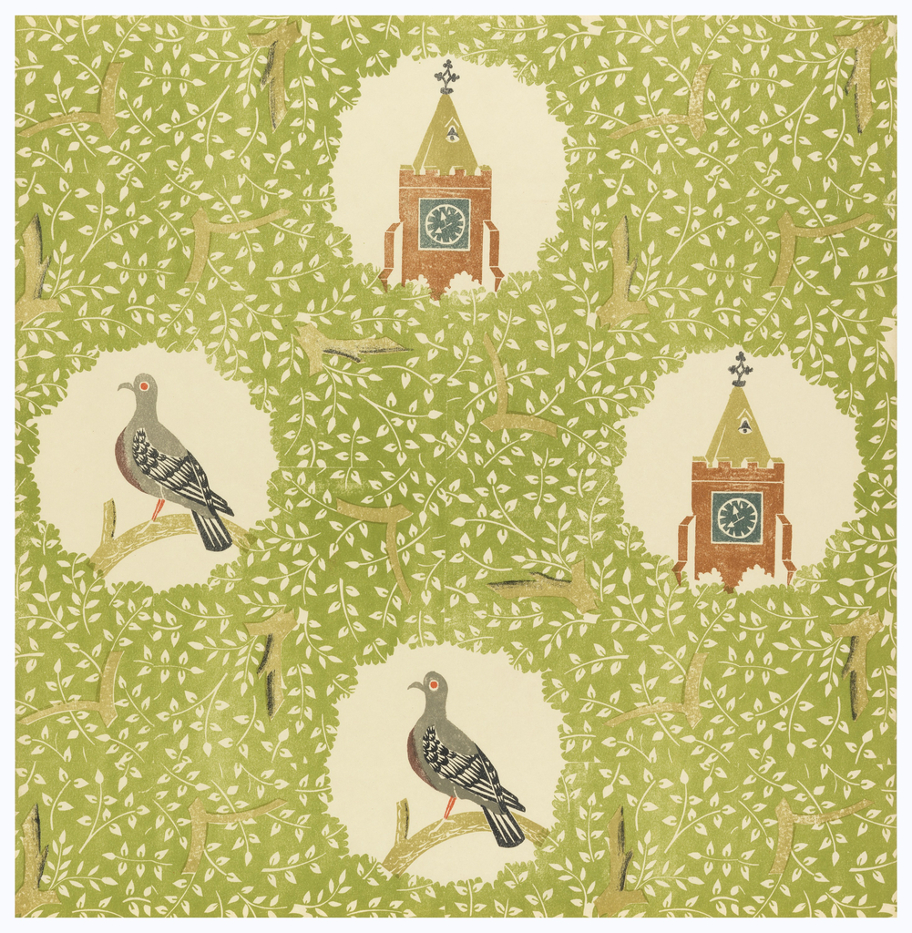 Alternating vignettes of a pigeon and clocktower, set in dense all-over background pattern of tree branches. Printed in green, gray, rust, black and red.