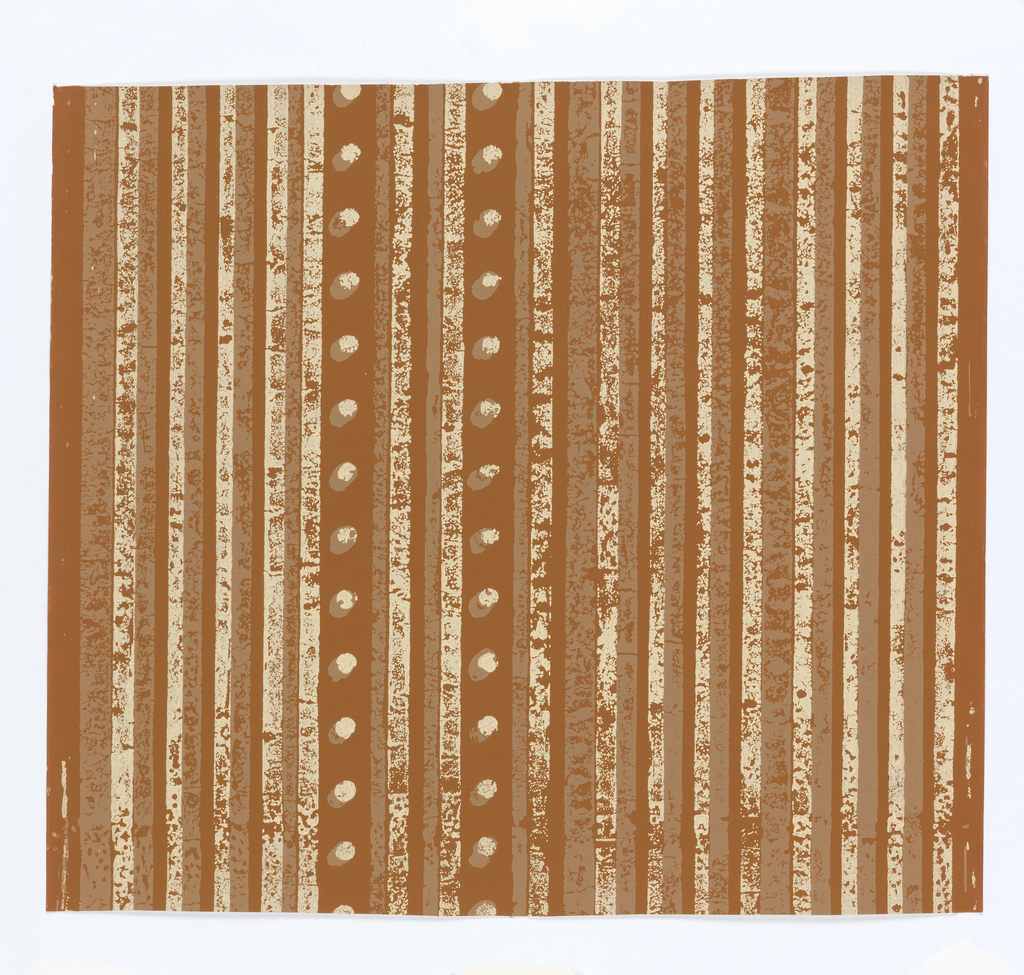 The pattern consists of roughly printed vertical stripes, some with overlapping spots. In brown and beige on black.