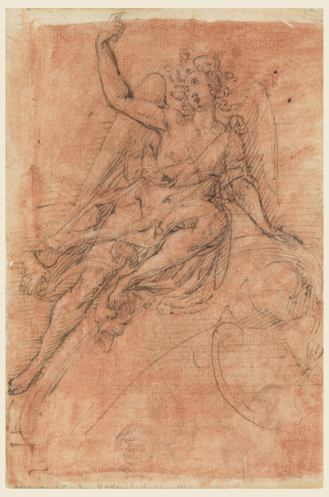 A winged figure reclines on an architectural element, head titled upward and right arm extended with finger pointing to heaven. Verso: a sketch in black chalk of an angel holding a cornucopia seated upon a base.