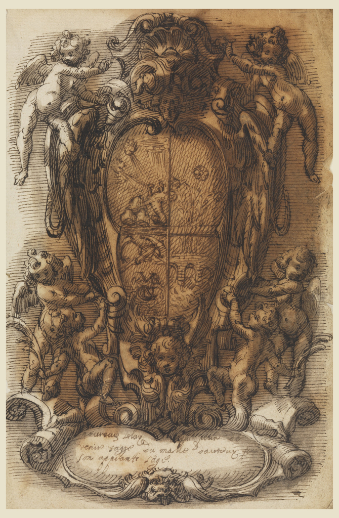 Drawing, Design of Escutcheon with Coat of Arms