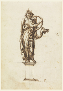 An angel stands contrapposto atop a plinth, head turned to the left while blowing into a serpentine horn terminating in the head of a beast.
