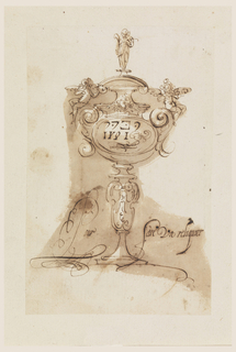 Elevation of a reliquary consisting of a plinth-like foot and baluster shaft surmounted by an oval two-handled body with an arched pediment.  An angel stands on top of the pediment, and two angels recline on the curved top of the handles below at left and right.  Fake inscription in the center of the oval body.  To right and left of the image are words written in flouished script.