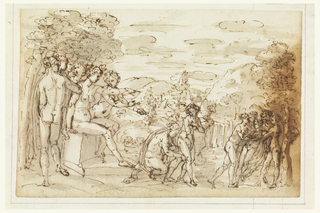 The goddess Diana is seated upon a bench at left, surrounded by companions.  She points at Endymion who stands opposite, stripped by young women.  Two additional young women stand at the center.
