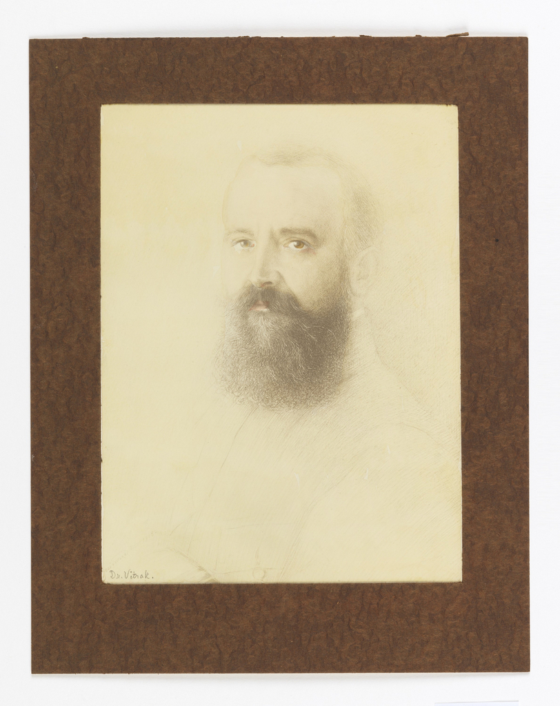 Portrait of bearded man with brown eyes.