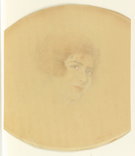 The head of a lady seen in three-quarter view to the right. Her hair is worn bobbed.