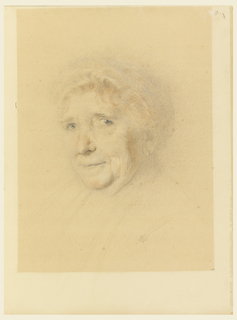 The head of an elderly lady in three-quarters view from the left.