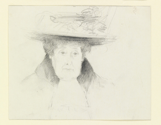 The head of an elderly woman seen frontally. She is dressed in an overcoat with heavy collar and a large wide-brimmed hat with a large bow.