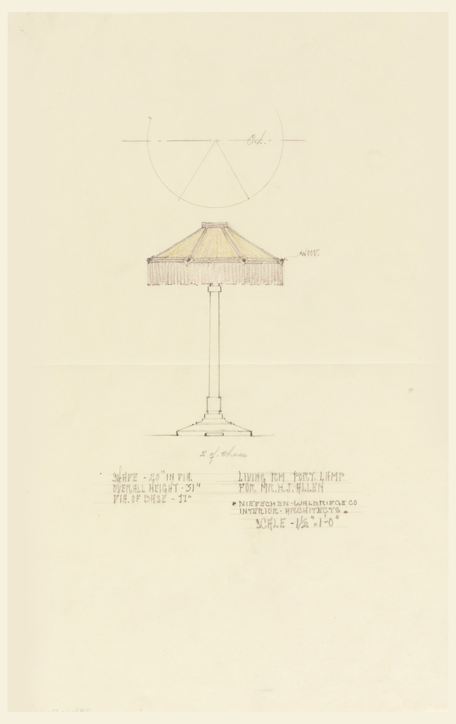 Design for a table lamp with a shade. Upper center, sketch of shade.