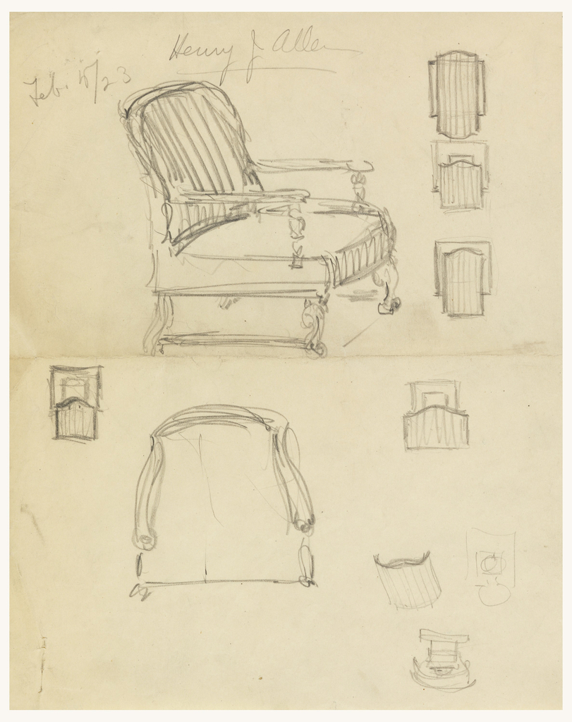 Perspective rendering with detail for chair.