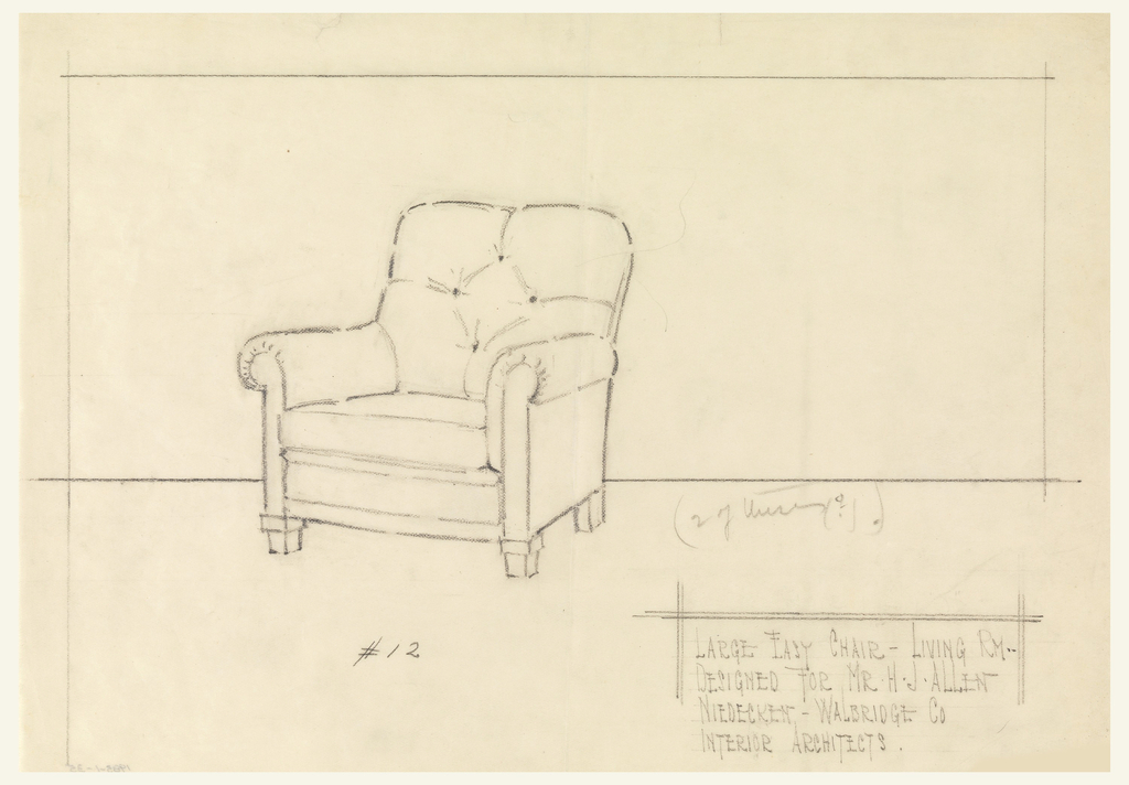 Design for chair with detail of cushions.