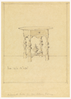 Design for table with intricately carved legs.