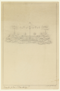 Design for a garden pavilion. Pavilion with umbrella decorated with flower motif. Vegetation surrounds pavilion. Scale noted at bottom.