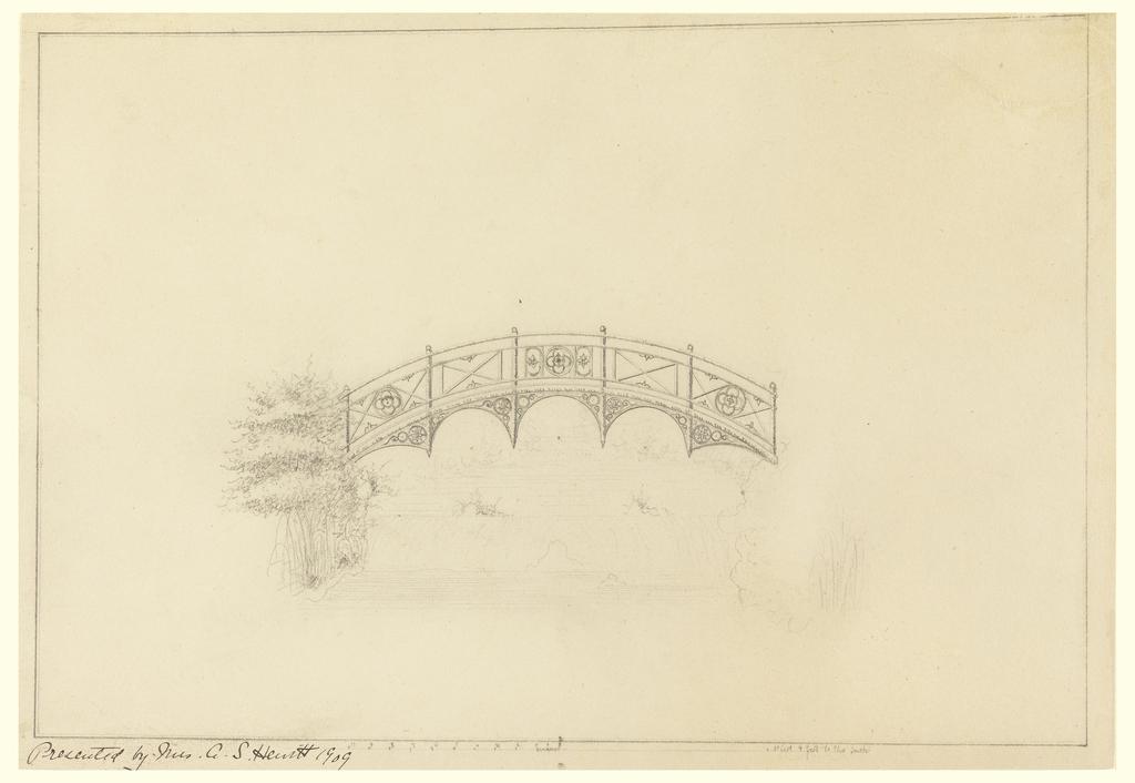 Design for half-moon bridge in garden pavilion. Flower motif decorates balustrade and supports of bridge. Vegetation drawn on left side of bridge. Scale noted on bottom.