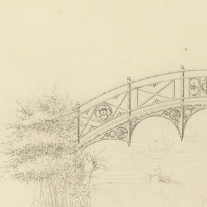 Design for half-moon bridge in garden pavilion. Flower motif decorates balustrade and supports of bridge. Vegetation drawn on left side of bridge. Scale noted on bottom.
