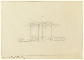 Conical roof supported by pillars, balustrade decorated with flower motif. Pillar decorated with circular designs. Table drawn in middle of pagoda. Scale noted at bottom.
