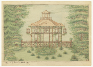 Drawing of large pavilion surrounded by foliage. Hexagonal pavilion comprised of slanted roof supported by columns with circular design decoration and lanterns. Balustrade at base decorated with flower motif. Small level on roof of pavilion.