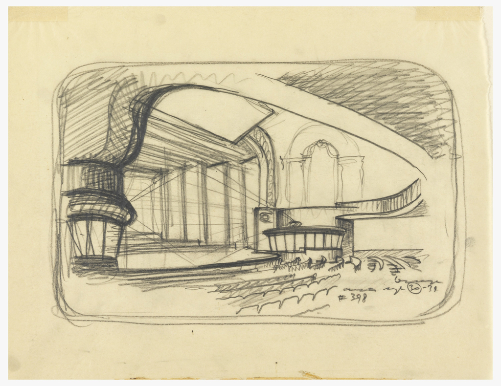 Drawing with rounded corners. Sketch for the alteration of the Avon theatre into a broadcasting theatre. Diagonal view from orchestra section under balcony. Signature and date at lower right.