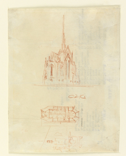 Perspective drawing and plan of Heinz chapel with octagonal outline. Artist's initials near center of page. On verso, typewritten names in four columns. Drawing mounted on cardboard with donor's notes on verso.