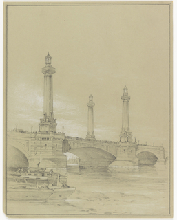 Drawing of a bridge with large columns rising from its bases over a river. Crowds of people are present on the bridge. In the foreground, a boat.