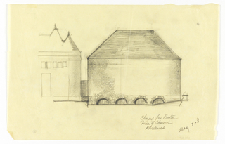 Drawing, Elevation of the Exterior of a Proposed Chapel for Trinity Church, Boston, Masssachusetts