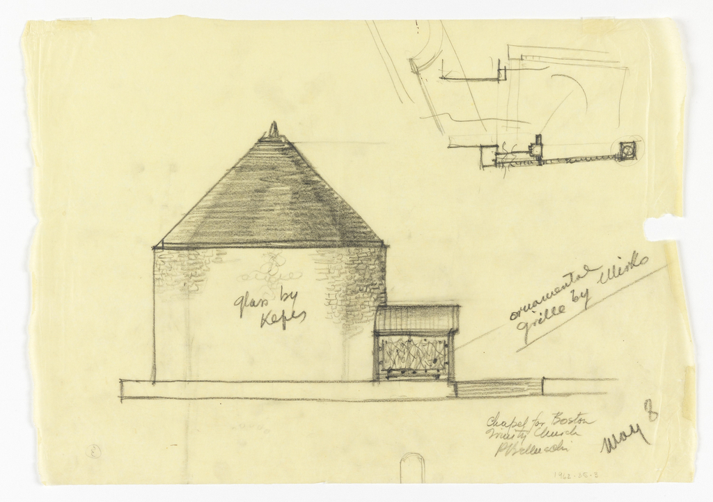 The entrance porch appears on right side of structure approached from street by short flight of steps. Upper right, sketch of ground plan of connecting vestibule.