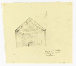 Cross-section of chapel, doors included. No cross over altar. Two figures to give scale. Upper center right, detail sketch of cross-section of roof cornice.