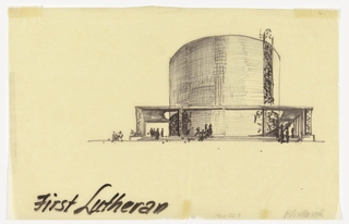 Drawing, End View of Proposed Design for the First Lutheran Church, Boston, Massachusetts