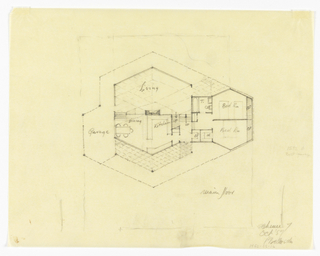 Drawing, Main Floor Plan of a Split-Level House to be Erected in Palo Alto, California