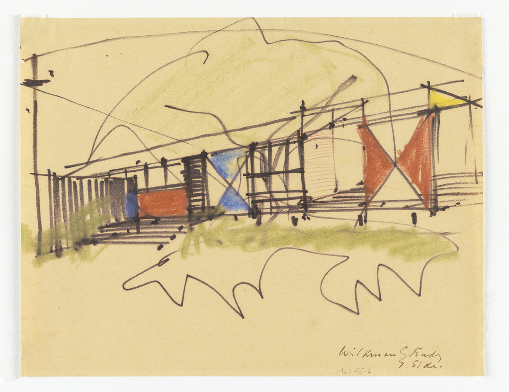 Rough sketch of the flank of the house showing varied-colored triangular panels of decoration.