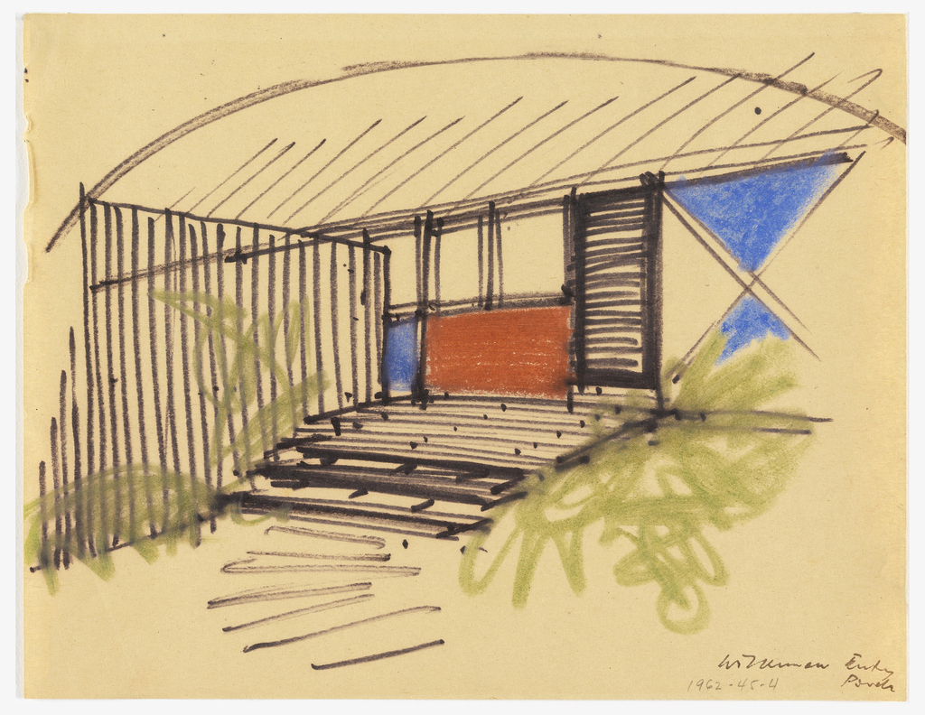Drawing, Entrance Detail of Proposed Cottage for Kirk Wilkinson, Wellfleet, MA