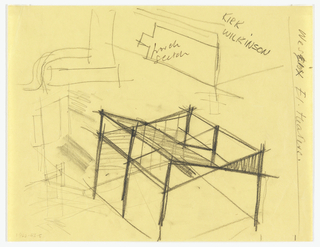 Sketch of main block of house seen from above; other rough sketches of details.