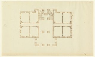 """The plan indicated two porticos, front and back, with a large double staircase, curving at the end of the cross hallway. Four rooms at either side. The number """"3"""" and """"g  s"""" (in pencil), left side."""