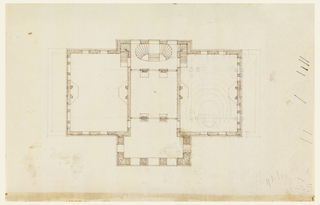 Upper floor of house, showing a large central hall, divided into three sections, and a large chmaber at either side. A plan of a small  theatre (?) lightly sketched in pencil in the right-hand chamber.