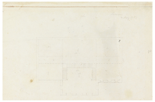 Floor plan of a building, horizontal rectangular structure with a square-shaped structure along the bottom.