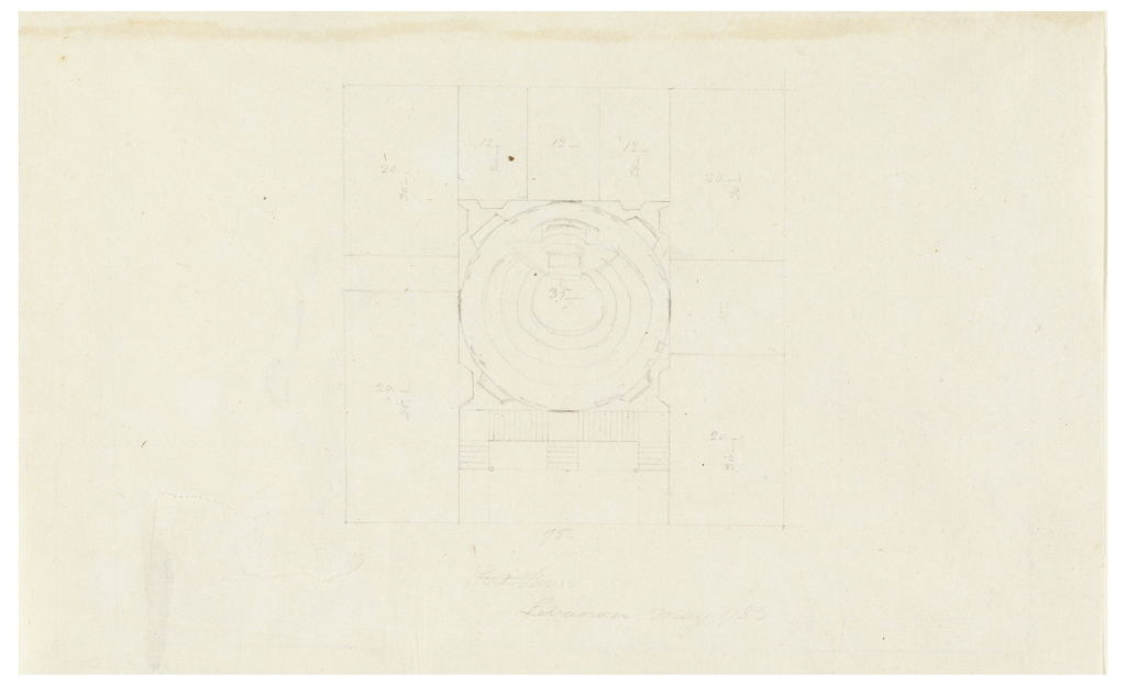 Verso contains faint graphite sketch of a domed, porticoed structure.