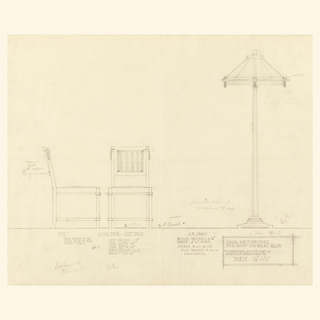 Page divided into two registers by horizontal line near bottom of page. Center, design for two chairs and lamp.